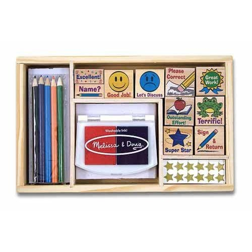 Melissa & Doug Wooden Classroom Stamp Set With 10 Stamps, 5 Colored Pencils, 4 Sticker Sheets, and 2-Colored Stamp Pad: Melissa & Doug: Toys & Games