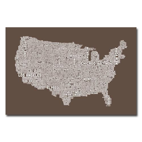 Trademark Global Michael Tompsett 'US City Map II' Canvas Art