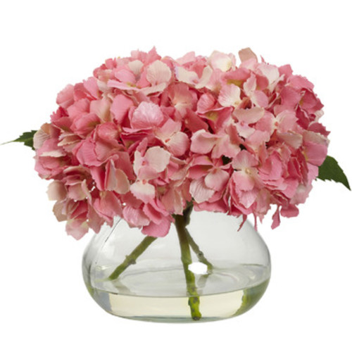 Nearly Natural Blooming Hydrangea With Vase In Pink