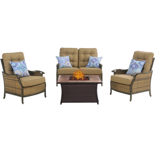 Hanover Outdoor Hudson Square 4-Piece Lounge Set with a Fire Pit Table