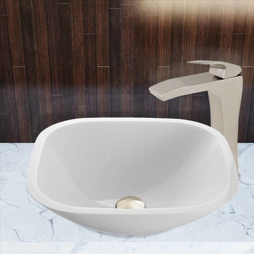 VIGO Glass Vessel Sink in Square Shaped White Phoenix Stone and Blackstonian Faucet Set in Brushed Nickel