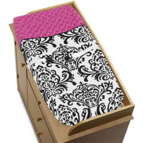 Sweet Jojo Designs Isabella Hot Pink, Black and White Collection Changing Pad Cover - Pad-Isabella-PK