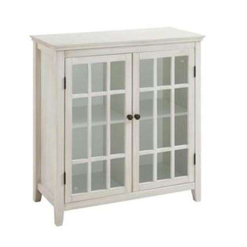 Linon Largo Antique Double Door Curio Cabinet in White