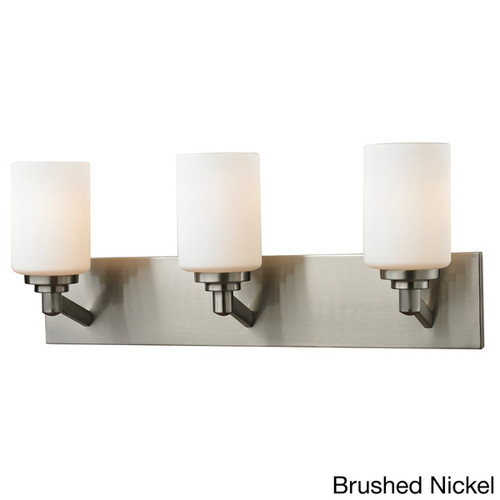 Z-Lite Matte Opal Glass and Steel 3-light Vanity Fixture [option : Silver - Brushed - Price in Cart]