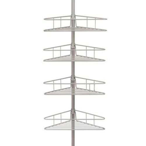 Kenney 4-Tier Pole Tension Shower Caddy in Satin Nickel