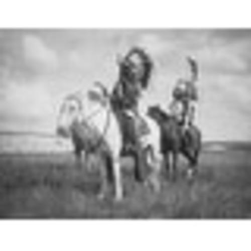 Sioux Indian Chiefs on Horseback - (Edward Curtis c. 1905) - Vintage Photograph (Keepsake Tin)