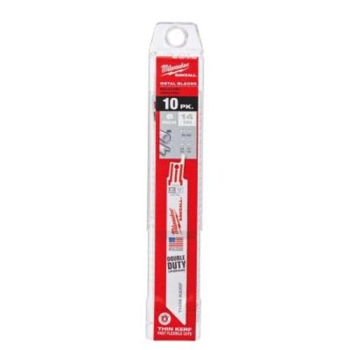 Milwaukee 6 in. 14 Teeth per in. Thin Kerf Metal Reciprocating Saw Blades (10-Pack)