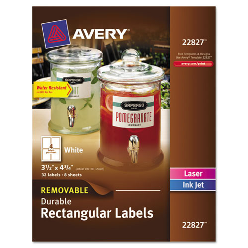 Avery Removable Durable Labels, TrueBlock Technology, 4 3/4