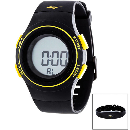 Everlast Men's HR6 Heart Rate Monitor Watch with Transmitter Belt, Black Plastic Band