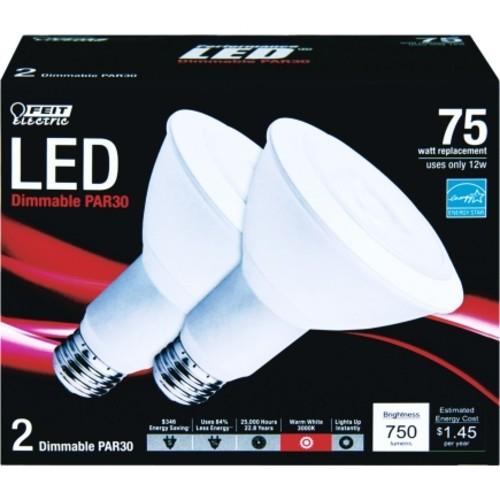 FEIT Electric LED Light Bulb 12 watts 750 lumens Reflector PAR30 Warm White 2 pk 4.5 in.(PAR30L/LEDG