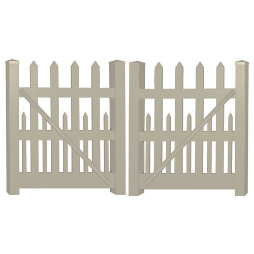 Weatherables Ashville 8 ft. W x 5 ft. H Khaki Vinyl Picket Fence Double Gate