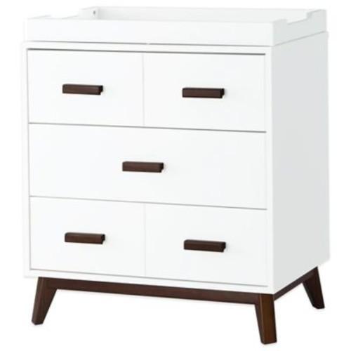 Babyletto Scoot 3-Drawer Changer Dresser in White/Walnut