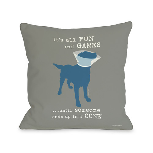 Its All Fun and Games Grey Throw Pillow