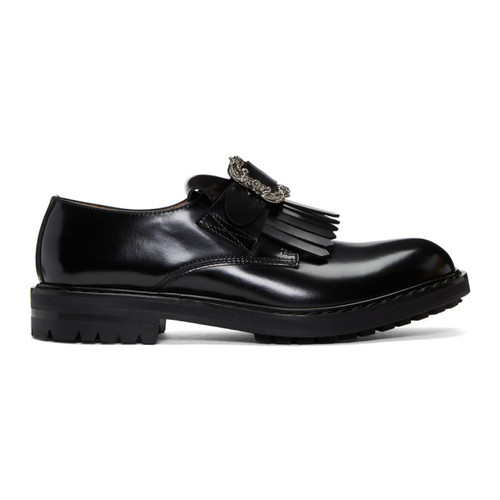 Black Engraved Buckle Loafers
