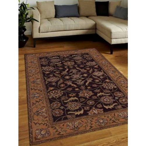 Alcott Hill Biloxi Vintage Hand-Tufted Wool Brown/Gold Area Rug; 5' x 8'