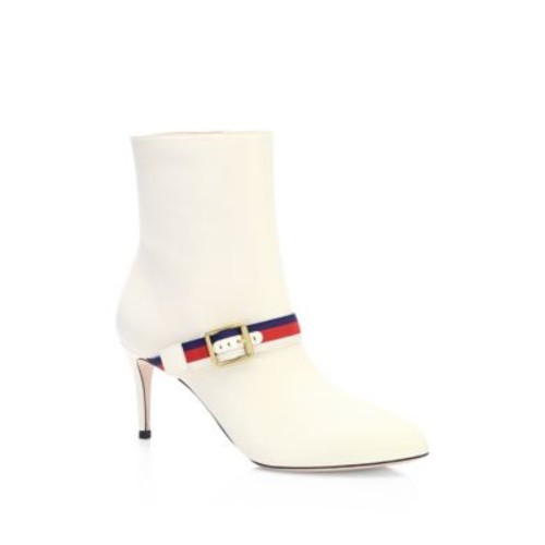 GUCCI Sylvie Web-Trim Leather Booties