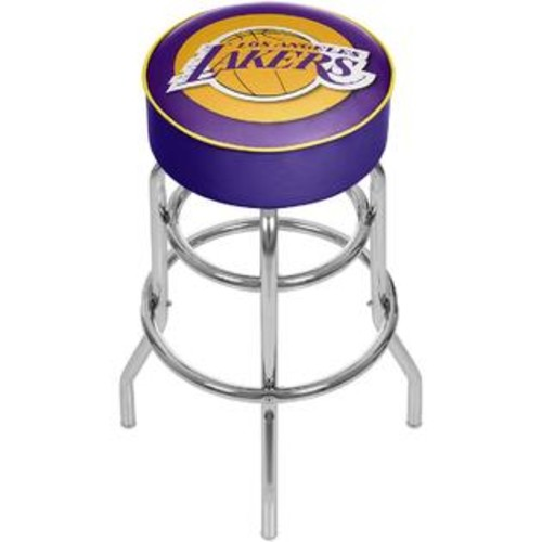 TRADEMARK GLOBAL LOS ANGELES LAKERS CHROME PADDED SWIVEL BAR STOOL