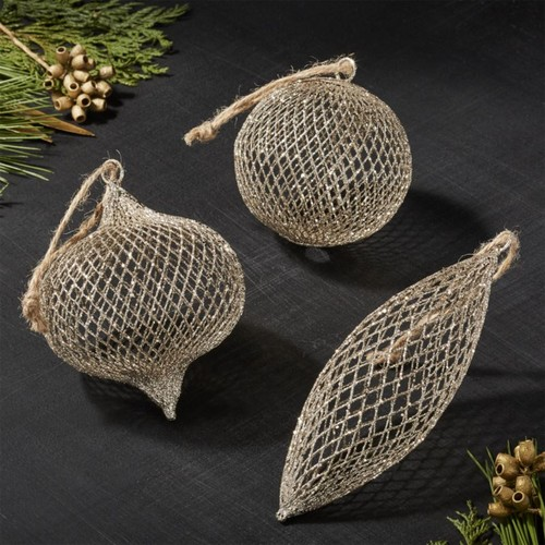 Gold Net Ball Ornaments, Set of 3