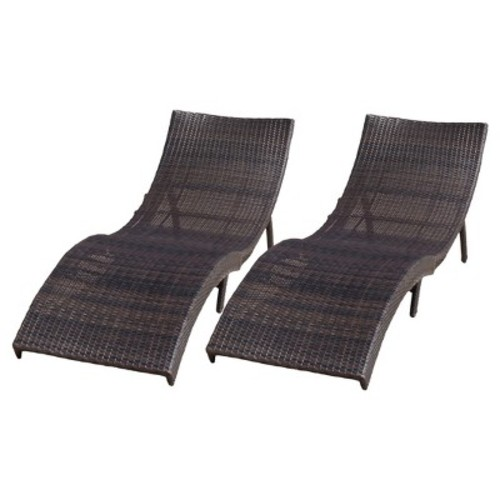 Christopher Knight Home Acapulco Set of 2 Wicker Patio Folding Chaise Lounge