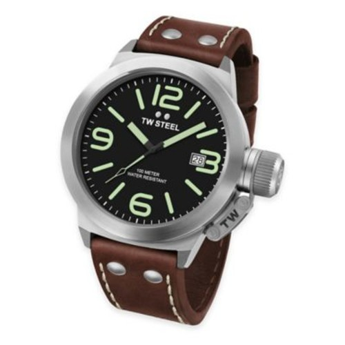 TW Steel Unisex 38mm Canteen Watch in Stainless Steel with Brown Leather Strap