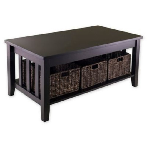 Winsome Trading Morris Coffee Table with Baskets in Dark Espresso
