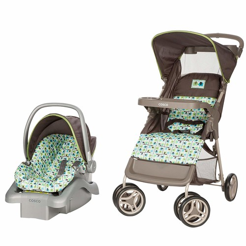 Cosco Lift & Stroll Travel System - Car Seat and Stroller  Suitable for Children Between 4 and 22 Pounds, Elephant Squares [Elephant Squares]