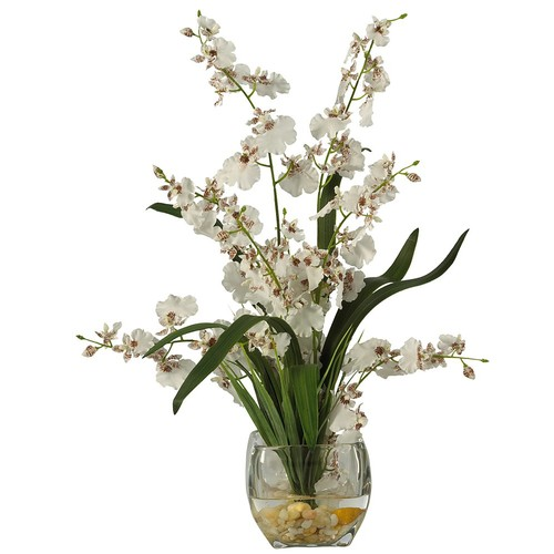 Nearly Natural 1119-WH Dancing Lady Orchid Liquid Illusion Silk Flower Arrangement, White [White]