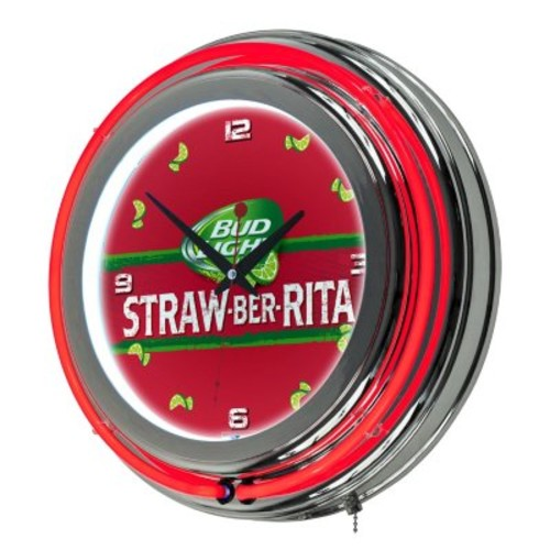 Bud Light Chrome Double Ring Neon Clock (Assorted Styles) [style : ; OriginalStyle : :Straw]
