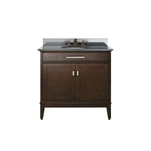 Avanity Madison 37 in. W x 22 in. D x 35 in. H Vanity in Light Espresso with Granite Vanity Top in Black and White Basin
