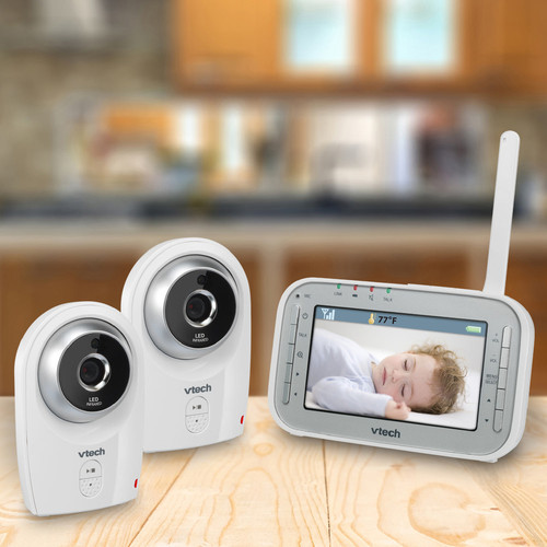 VTech 4.3-inch LCD Digital Video Baby Monitor with 2 Cameras and Automatic Night Vision - VM341-2