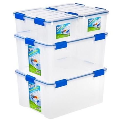Ziploc WeatherShield Storage Box - 4 PC Stacking Set-16 Qt & 60 Qt