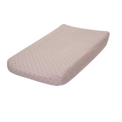 Go Mama Go Designs Classic Cotton Dot Changing Pad Cover in Pink/Chocolate