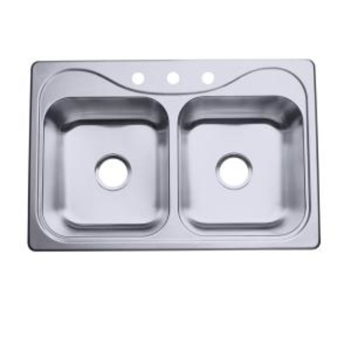 STERLING Southhaven Self-Rimming Stainless Steel 33 in. 3-Hole Double Basin Kitchen Sink