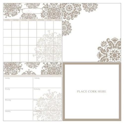 Wall Pops!  Dry Erase Calendar Set - White/Taupe