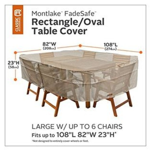 Classic Accessories Montlake Patio Table & Chair Set Cover Heather Grey/Large/Rectangular/Oval