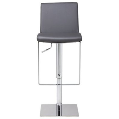 Orren Ellis Braxton Adjustable Height Swivel Bar Stool; Gray Naugahyde