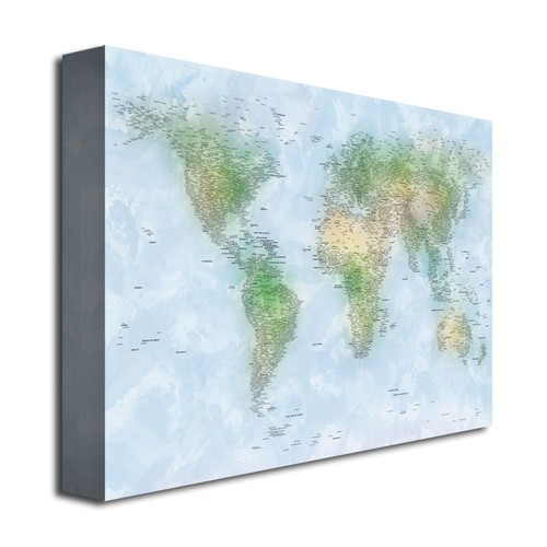Trademark Global Michael Tompsett 'Watercolor Cities World Map' Canvas Art [Overall Dimensions : 30x47]