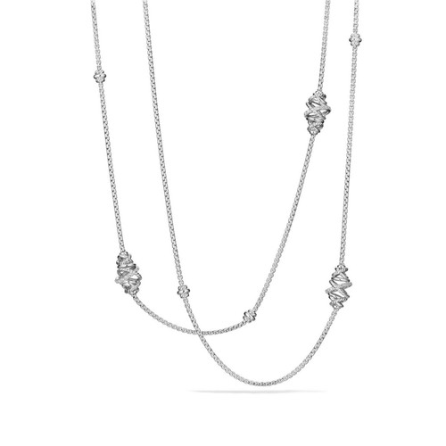 Crossover Station Necklace with Diamonds
