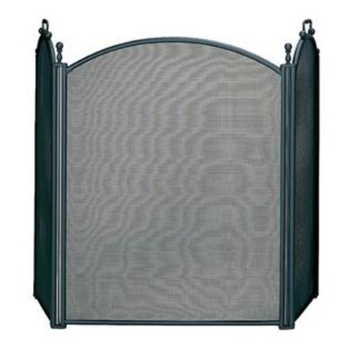 UniFlame Three Fold Large Fireplace Screen w Woven Mesh & Black Finish