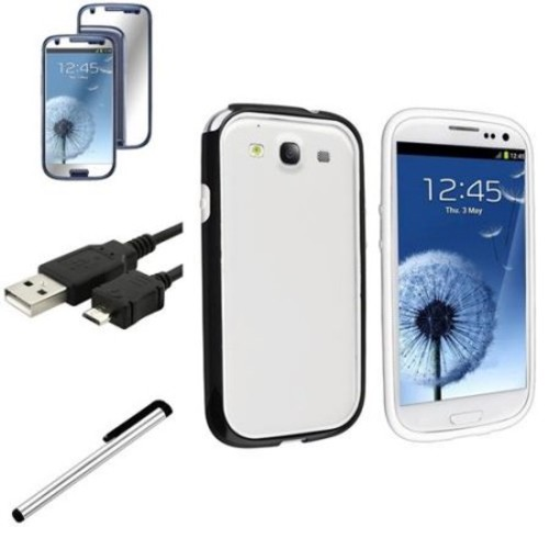 INSTEN Black/White TPU Rubber Skin Case+In Car Charger For Samsung Galaxy SIII S3 i9300