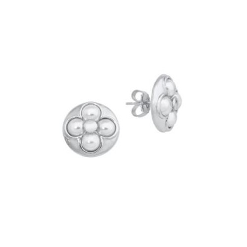 Luck 6MM White Mabe Pearl & Sterling Silver Stud Earrings