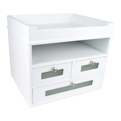 Victor Wood Pure White Collection Tidy Tower, W5500