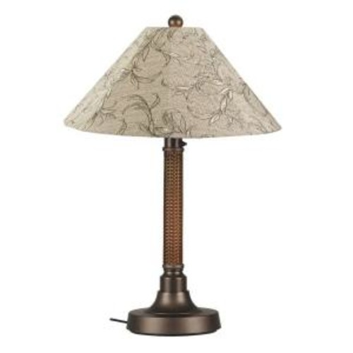 Patio Living Concepts Bahama Weave 34 in. Red Castagno Outdoor Table Lamp with Bessemer Shade
