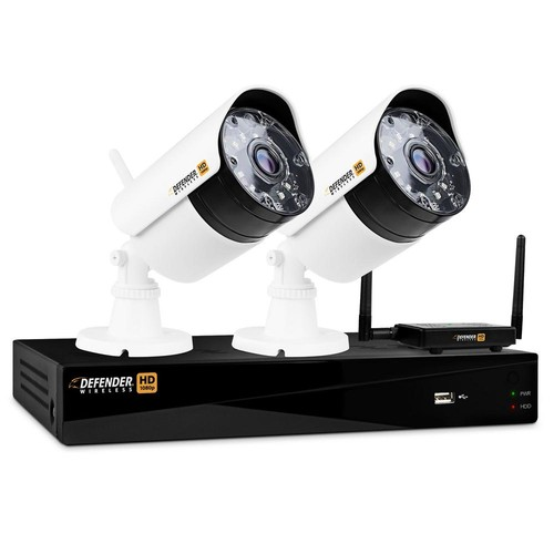 Defender Wireless HD 1080p 4-Channel 1TB DVR Security System with 2-Bullet Cameras
