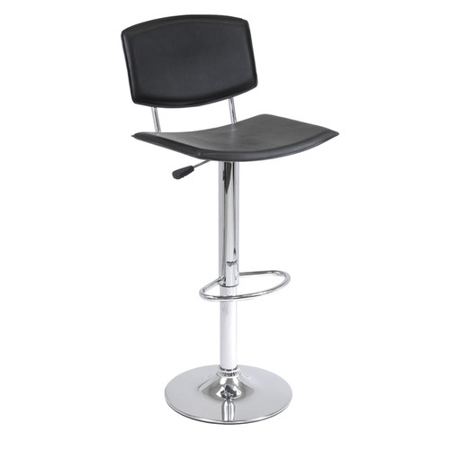 Winsome Spectrum Black Faux-leather Adjustable Air-lift Stool with Curved Seat