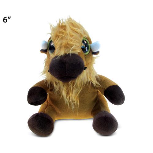 Puzzled Brown Plush Big-eyed Buffalo Toy