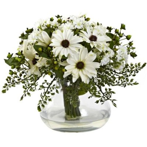 Nearly Natural 1353-WH Large Mixed Daisy Arrangement, White