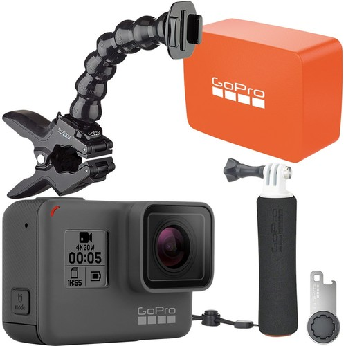 GoPro - Boating Bundle - HERO5 Black 4K Action Camera, The Handler Floating Hand Grip, Jaws Clamp Mount & Floaty Backdoor