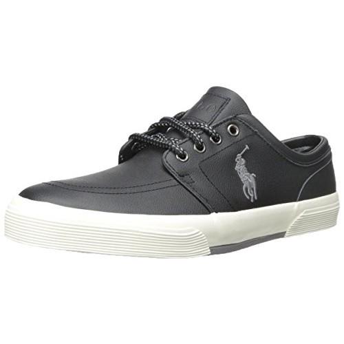 Polo Ralph Lauren Men's Faxon Leather Fashion Sneaker [Black, 7.5 D(M) US]