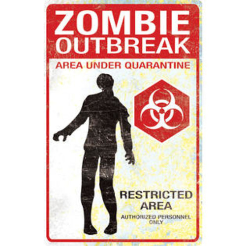 Morris Costumes Metal Sign Zombie Outbreak